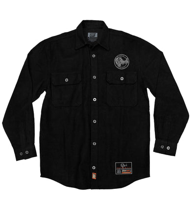 OPETH 'BLACKWATER PUCK' hockey flannel in solid black front view