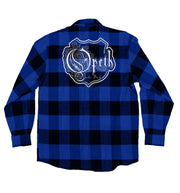 OPETH 'BLACKWATER PUCK' hockey flannel in blue plaid back view