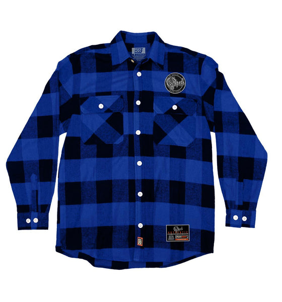 OPETH 'BLACKWATER PUCK' hockey flannel in blue plaid front view