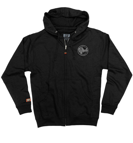 OPETH 'BLACKWATER PUCK' full zip hockey hoodie in black front view