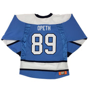 OPETH 'GOAL OF PERDITION' hockey jersey in sky blue, white, and navy back view