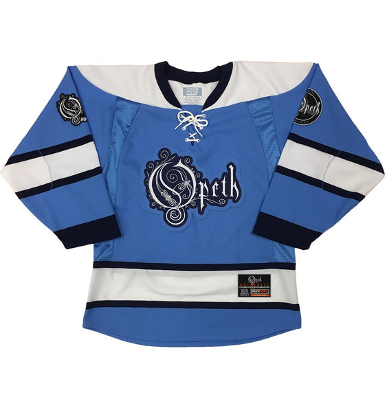 OPETH 'GOAL OF PERDITION' hockey jersey in sky blue, white, and navy front view