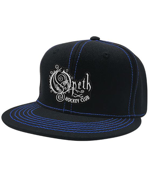 OPETH 'HOCKEY CLUB' contrast stitch snapback hockey cap in black with blue stitching