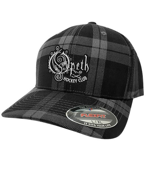 OPETH 'HOCKEY CLUB' plaid fitted hockey cap in black and grey