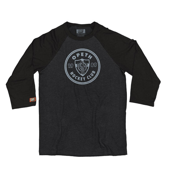 OPETH 'HOCKEY CLUB' hockey raglan in black heather with black sleeves