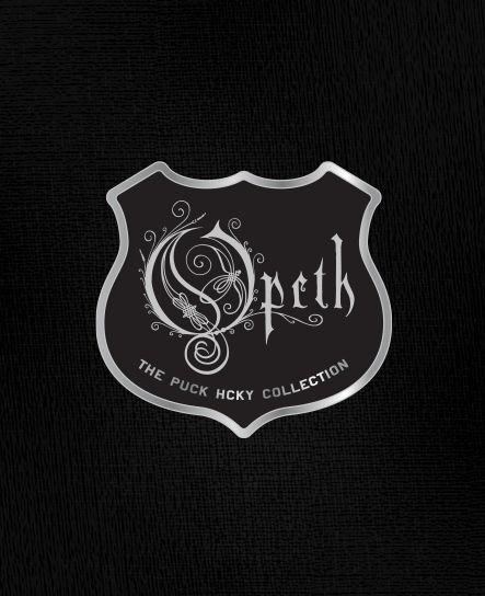 OPETH 'MODE' 1/4 zip hockey hoodie in black with royal blue hood close up