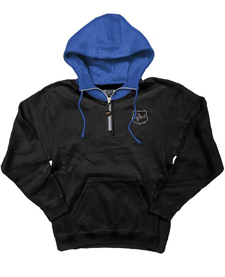 OPETH 'MODE' 1/4 zip hockey hoodie in black with royal blue hood