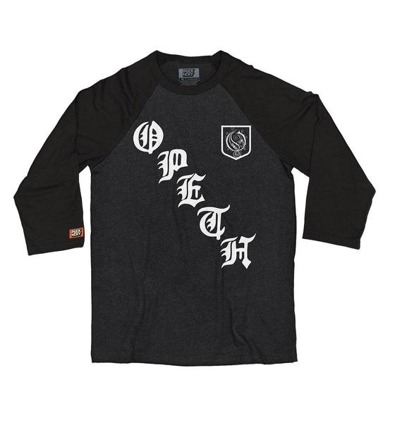 OPETH 'ON THE DIAG' hockey raglan in black heather with black sleeves