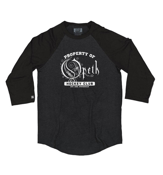 OPETH 'PROPERTY OF' hockey raglan in black heather with black sleeves