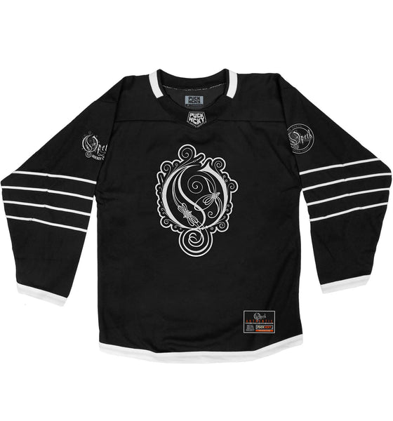 OPETH 'THE BIG O' hockey jersey in black and white front view