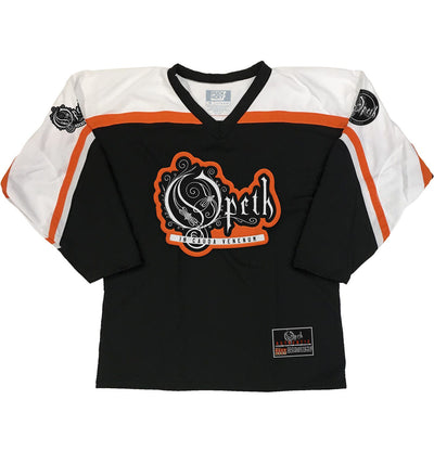 OPETH 'VENOM IN THE TAIL' hockey jersey in black, white, and orange front view