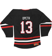 OPETH 'VENOM IN THE TAIL' hockey jersey in black, red, and white back view