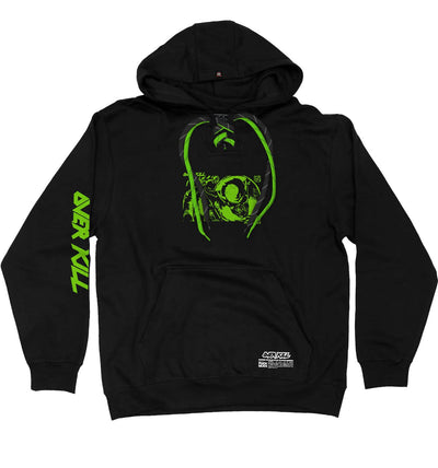 OVERKILL 'BELIEVE IN THE FIGHT' pullover hockey hoodie in black with green laces and black laces with black stripes front view