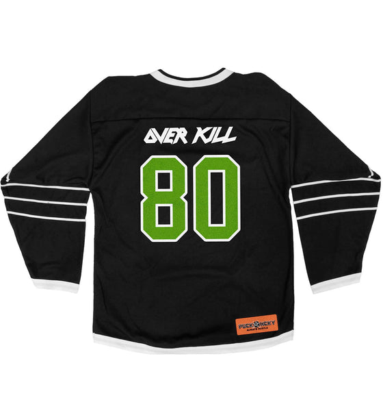 OVERKILL 'BELIEVE IN THE FIGHT' hockey jersey in black and white back view
