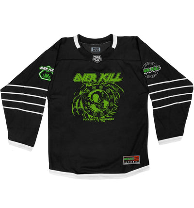 OVERKILL 'BELIEVE IN THE FIGHT' hockey jersey in black and white front view