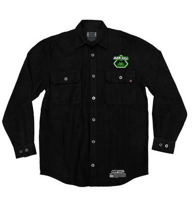 OVERKILL 'CHALY' hockey flannel in black front view