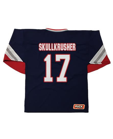 OVERKILL 'COME HEAVY' hockey jersey in navy, red, white, and grey back view