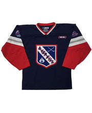 OVERKILL 'COME HEAVY' hockey jersey in navy, red, white, and grey front view