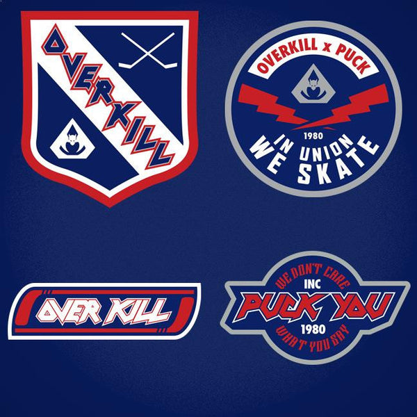 OVERKILL 'COME HEAVY' hockey jersey in navy, red, white, and grey close up of patches and crest designs