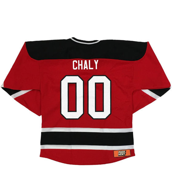 OVERKILL 'DEVIL BY THE TAIL' hockey jersey in red, black, and white back view