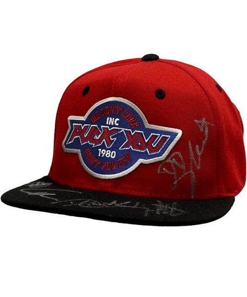 OVERKILL 'DON'T CARE' flat bill snapback hockey cap in red with black bill AUTOGRAPHED