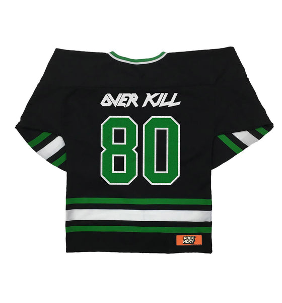 OVERKILL 'EC FLAVA' hockey jersey in black, kelly, and white back view