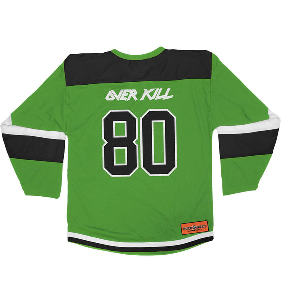 OVERKILL 'EC FLAVA' hockey jersey in lime green, black, and white back view