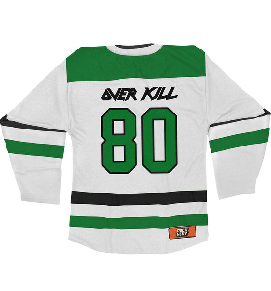 OVERKILL 'EC FLAVA' hockey jersey in white, kelly, and black back view