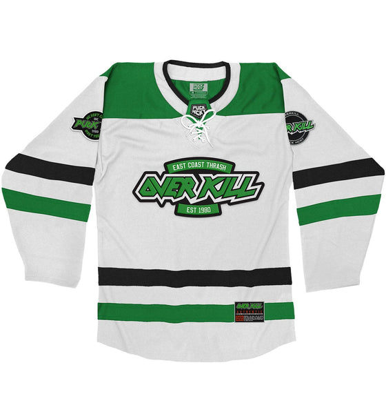 OVERKILL 'EC FLAVA' hockey jersey in white, kelly, and black front view