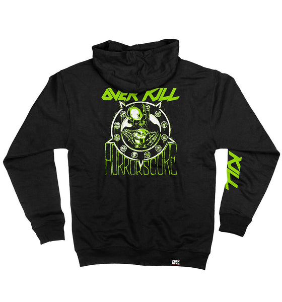 OVERKILL 'HORRORSCORE' full zip hockey hoodie in black back view