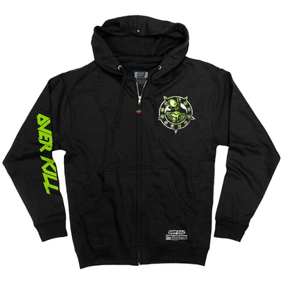 OVERKILL 'HORRORSCORE' full zip hockey hoodie in black front view