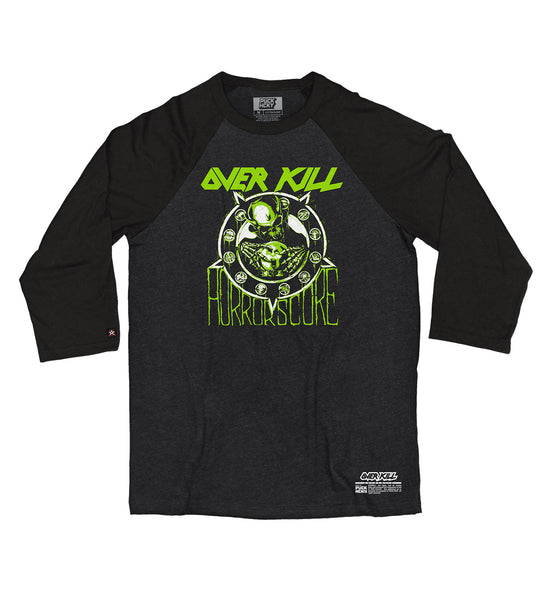 OVERKILL 'HORRORSCORE' hockey raglan t-shirt in black heather with black sleeves