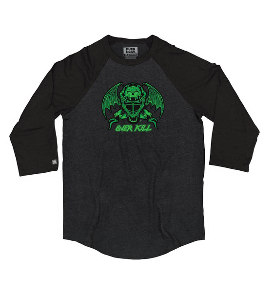 OVERKILL 'MASK OF DECAY' hockey raglan t-shirt in black heather with black sleeves