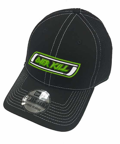 OVERKILL 'MEAN GREEN SLASHING MACHINE' stretch mesh hockey cap in black with contrast stitching