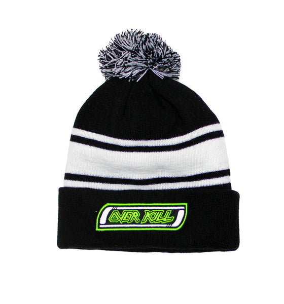 OVERKILL 'MEAN GREEN SLASHING MACHINE' knit hockey cap in black and white