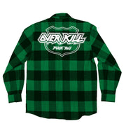 OVERKILL 'OFFICIAL PUCK' hockey flannel in green plaid back view