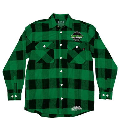 OVERKILL 'OFFICIAL PUCK' hockey flannel in green plaid front view