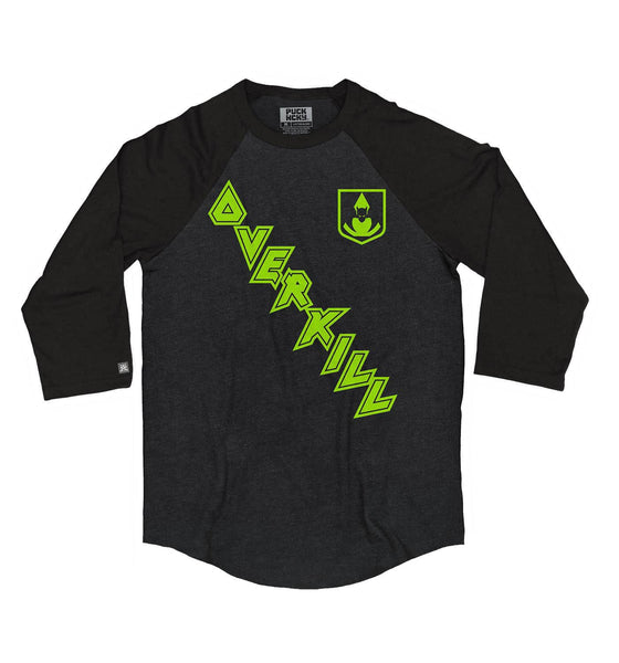 OVERKILL 'ON THE DIAG' hockey raglan t-shirt in black heather with black sleeves