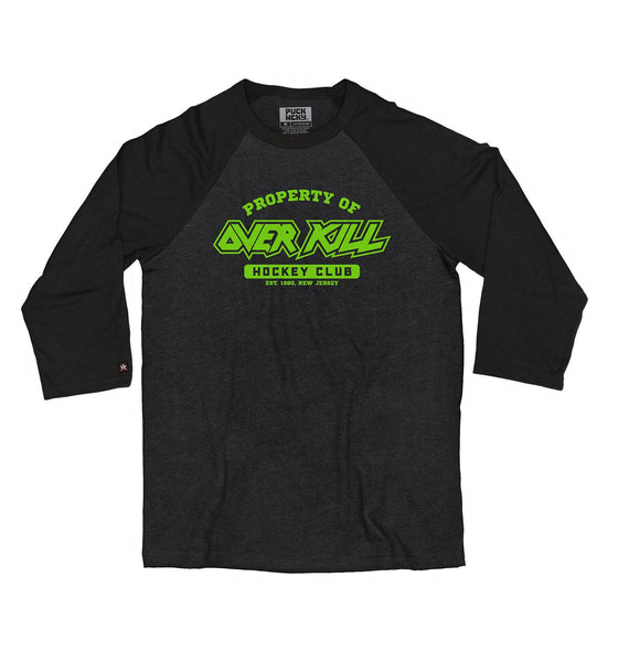 OVERKILL 'PROPERTY OF' hockey raglan t-shirt in black heather with black sleeves