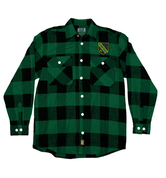 OVERKILL 'THE GREEN AND BLACK' hockey flannel in green plaid