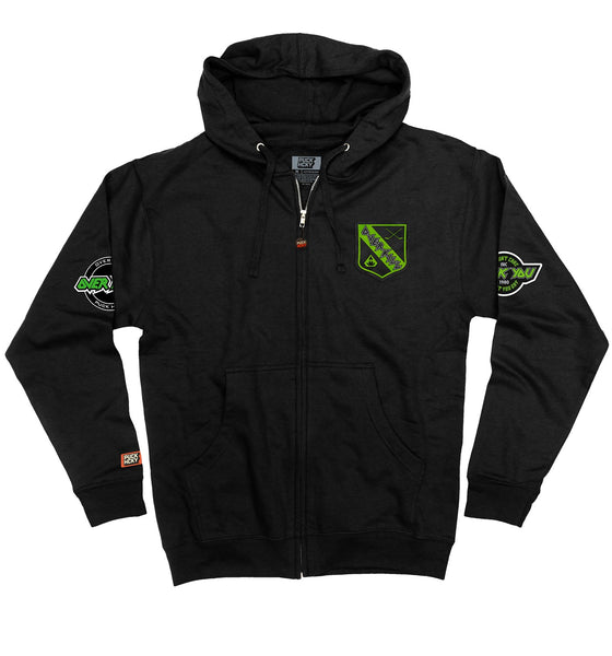 OVERKILL 'THE GREEN AND BLACK' full zip hockey hoodie in black