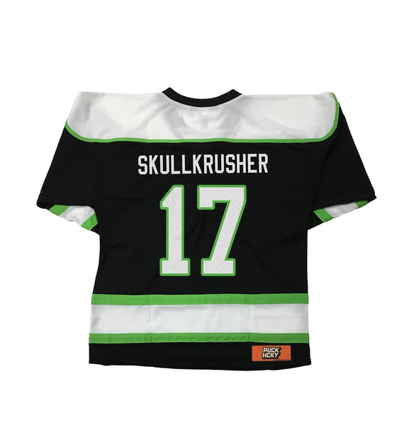 OVERKILL 'THE GREEN AND BLACK' hockey jersey in black, white, and lime green back view