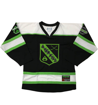 OVERKILL 'THE GREEN AND BLACK' hockey jersey in black, white, and lime green front view