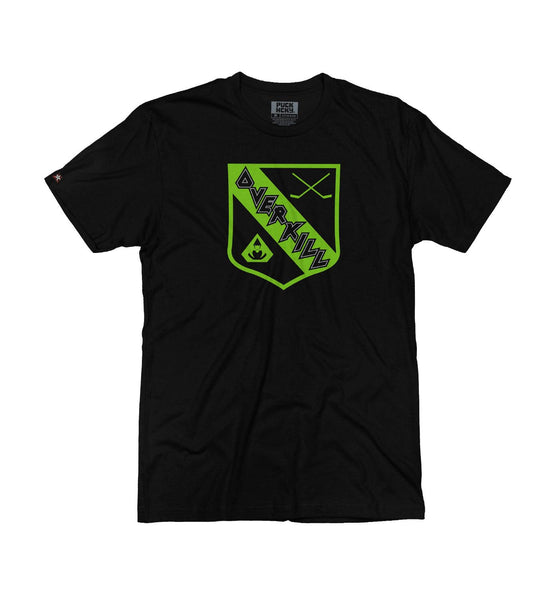 OVERKILL 'THE GREEN AND BLACK' short sleeve hockey t-shirt in black front view