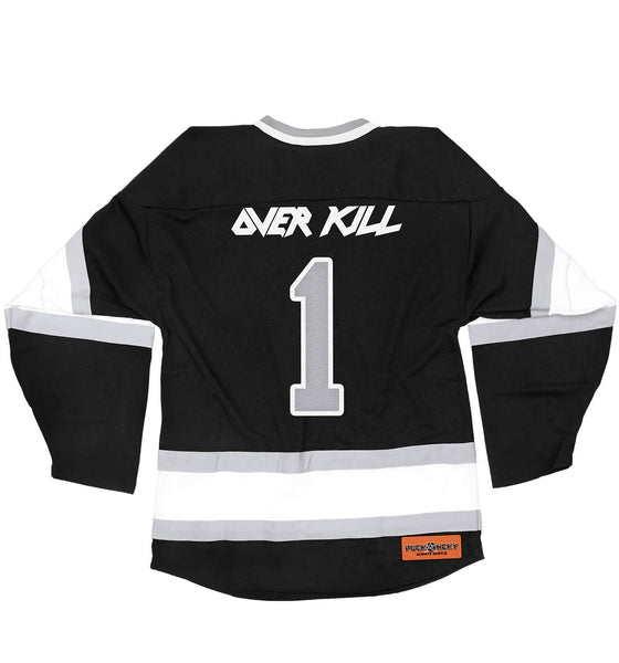 OVERKILL 'WHERE FEW DARE TO SKATE' deluxe hockey jersey in black, white, and grey back view