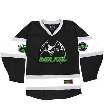 OVERKILL 'WHERE FEW DARE TO SKATE' deluxe hockey jersey in black, white, and grey front view