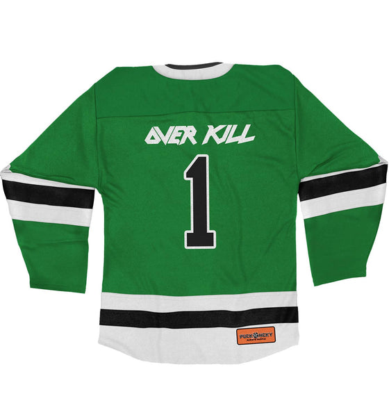 OVERKILL 'WHERE FEW DARE TO SKATE' deluxe hockey jersey in kelly, white, and black back view