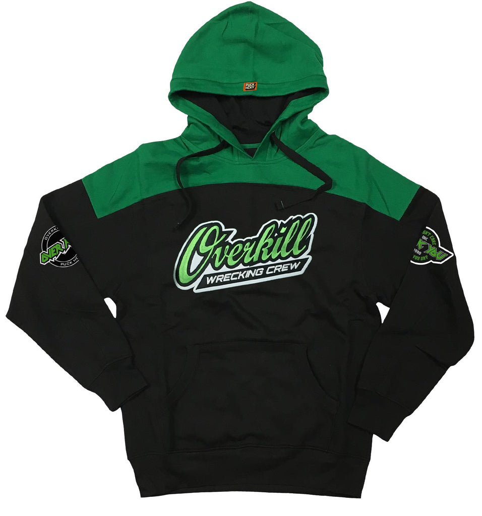 OVERKILL 'WRECKING CREW' pullover hockey hoodie in black and green