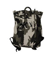 PUCK HCKY 'SHOOT PUCKS NOT PEOPLE' hockey game-day travel pack in grey camo back view