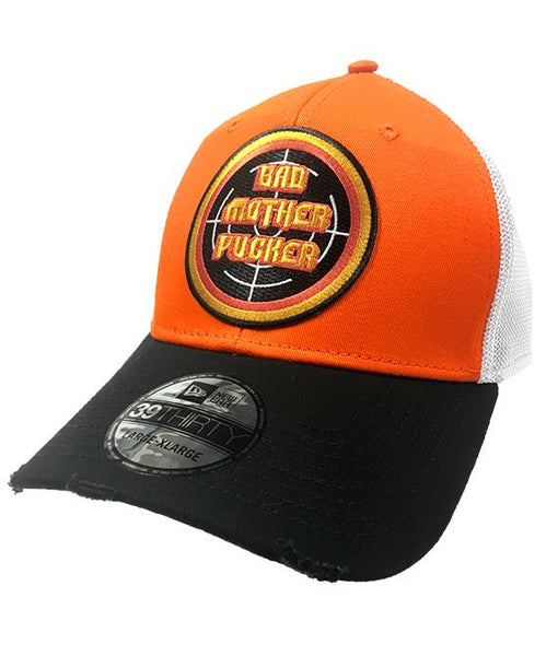 PUCK HCKY 'BAD MOTHER PUCKER' vintage mesh back hockey cap in orange, black and white